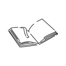 Open book black line icon. Book in expanded form, which can be immediately read. Pictogram for web page, mobile app, promo. UI UX GUI design element. Editable stroke.