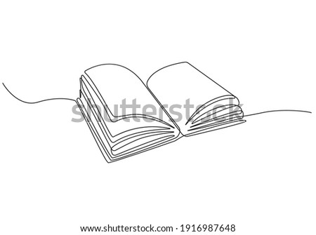 Open Book Continuous One Line Drawing. Open Book Single Line Art Illustration. Contour Drawing Education Theme. Vector Illustration.