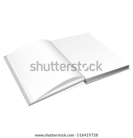 Open book cover. Mockup for the cover design. High detail. Isolated on white background.