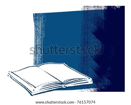 Open book icon on grunge canvas background (blank space for text)
