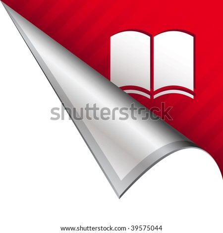 Open book icon on vector peeled corner tab suitable for use in print, on websites, or in advertising materials.