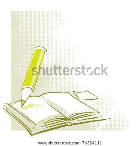 Open Book Icon Open Book Icon With a Pencil