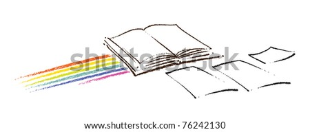Open book icon (with a rainbow and a few blank sheets of paper, artistic painterly style)
