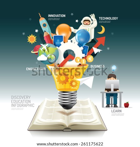 Open book infographic innovation idea on light bulb vector illustration. innovation concept.can be used for layout, banner and web design.