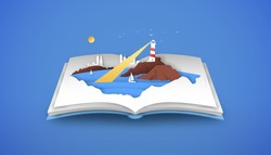 Open book of beach coast landscape in paper cut style with lighthouse, boat and coastal town. Summer sea side view, 3d papercut illustration for tourism or vacation travel concept.