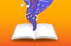 Open book of colorful music note sheet in paper cut style. Musical skill design, 3d papercut illustration for education or creative concept.