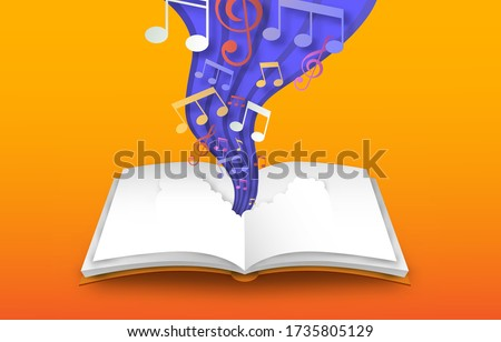 open book of colorful music