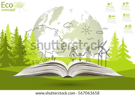 Open book of happy family stories. Ecology concept. Ecologically clean world. Vector illustration. Doodle.