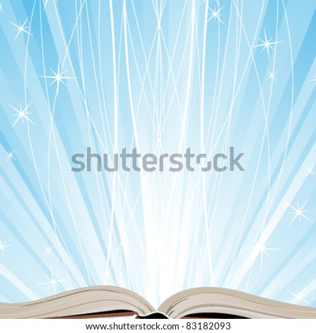 Open book on a blue sparkling background - stock vector