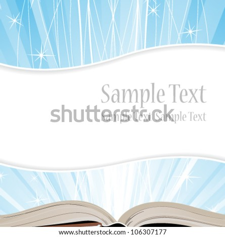 Open book on blue shining background