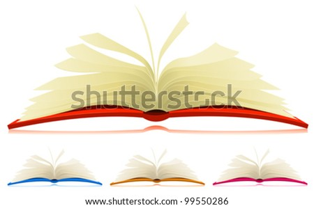 Open Book Set/ Illustration of a set of cartoon opened books in four different colors with flipping  pages