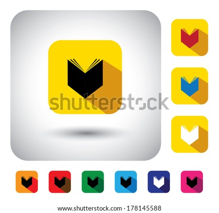 open book sign on button - flat design vector icon. This long shadows graphic symbol also represents encyclopedia, copybook, student notebook, information store, document collection, knowledge, etc