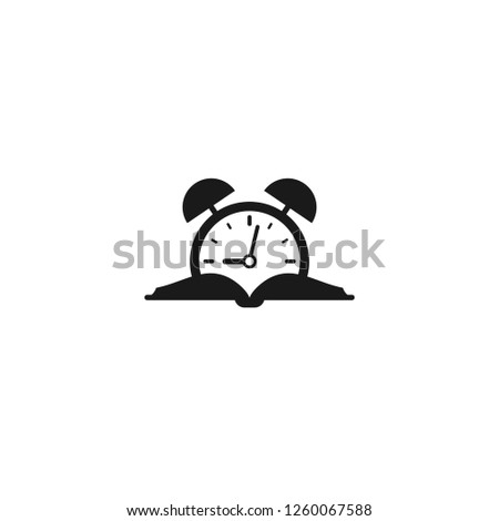 open book silhouette with alarm