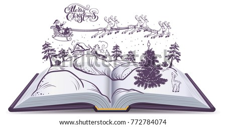 Open Book Tale About Christmas Santa And Deer In Sky Above Winter Forest Isolated