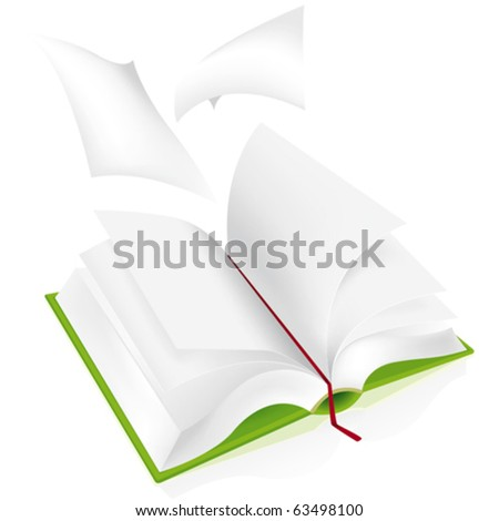 Open book whit white pages and flying sheet
