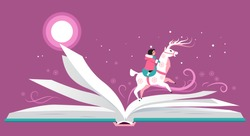 Open book with a character riding a reindeer across it's pages,  EPS 8 vector illustration