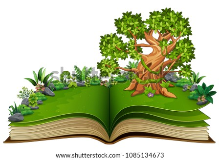 open book with animals cartoon