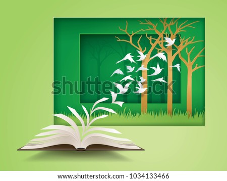 open book with bird flying from