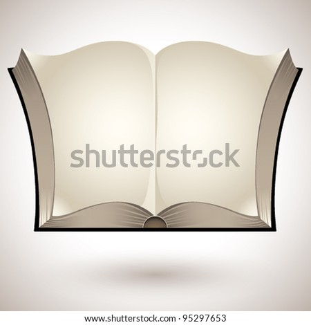 Open book with blank pages - vector.