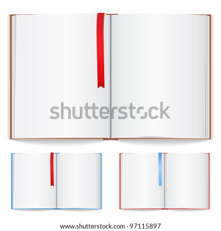 Open book with bookmark, vector eps10 illustration (transparent shadows)