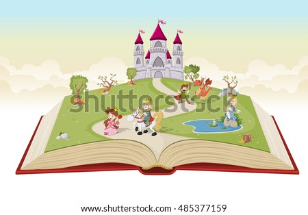 open book with cartoon
