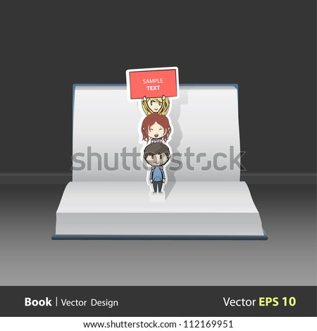Open book with children over children holding a poster. Vector design. Pop-Up Illustration.
