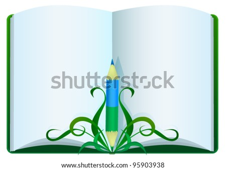 Open book with clean sheets and a blue green pencil
