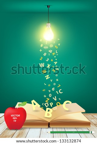 open book with creative light