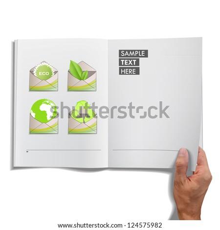 Open book with ecological envelope inside. Vector design.