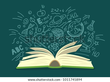 Open book with education, science hand drawn doodles on teal background. Education vector illustration. Stock photo ©
