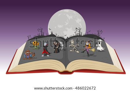 open book with full moon over a
