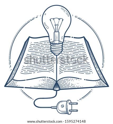 open book with idea light bulb