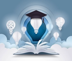 Open book with Light bulb and graduation cap, diploma, success, study, Evolution, College, Learning, University Education concepts, Light bulb and Sky Cloud Background,Creative ideas,Paper art vector