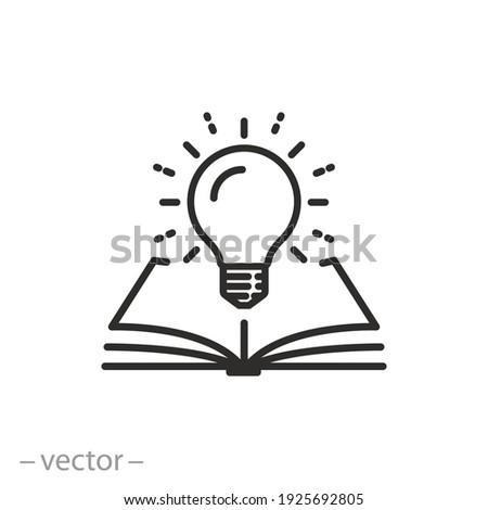 open book with lightbulb, concept new knowledge, understanding wisdom in study, creative idea, thin line symbol on white background - editable stroke vector illustration Foto stock ©