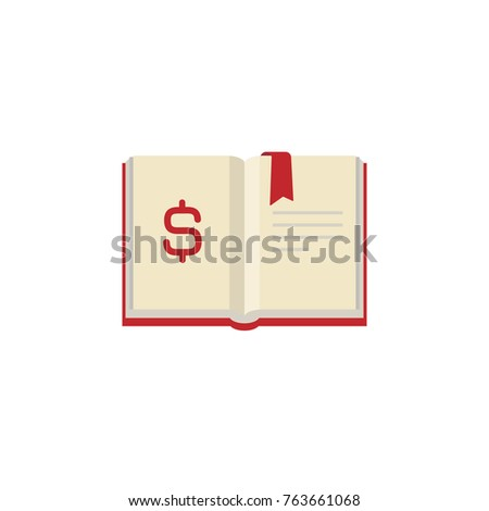 Open book with red ribbon bookmark and dollar sign isolated on white.  Money book business concept. Flat vector illustration. Account book symbol.  Investment ideas.