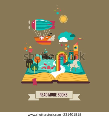 open book with set of vector