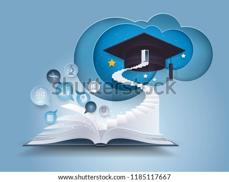 Open book with stair to graduation cap, The door with graduation Hat on top of Staircase, Bubble talk with Education icon,knowledge,Study,diploma,College,University Education concept, Paper art vector