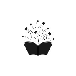 Open book with stars or fireworks flying out. Isolated on white background. Flat icon. Vector illustration. Magic, creative reading logo. Fairytale pictogram. Book for kids. Power of knowledge sign.