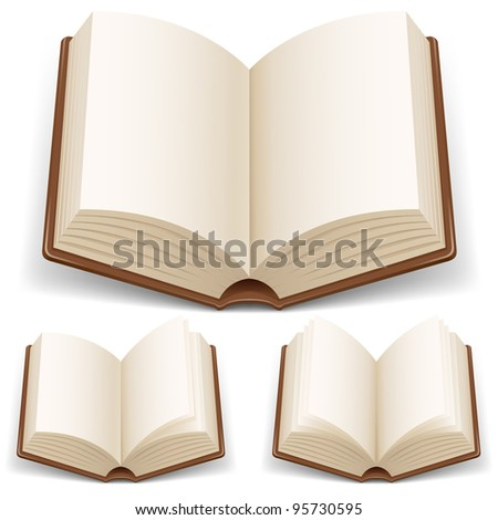 Open book with white pages. Illustration on white background