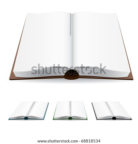 Open book with white pages. Vector illustration on white.
