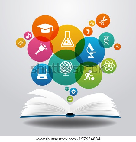 Shutterstock Open books and icons of science. The concept of modern education, File is saved in AI10 EPS version. This illustration contains a transparency
