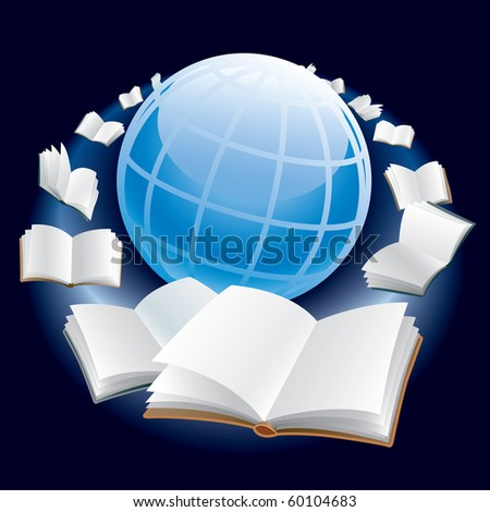Open books are flying around earth globe in space. - stock vector