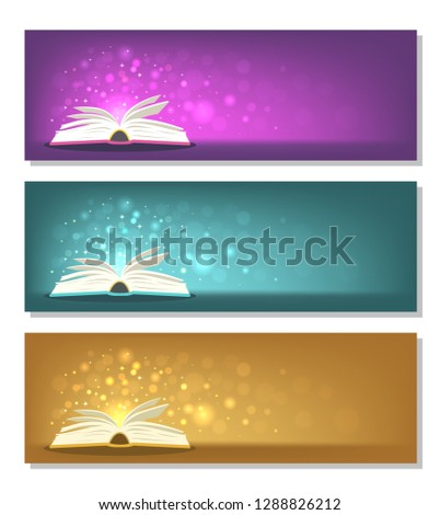 Open books with magic lights on horizontal backgrounds. Fantasy, fairy-tale, miracle, literature concepts.