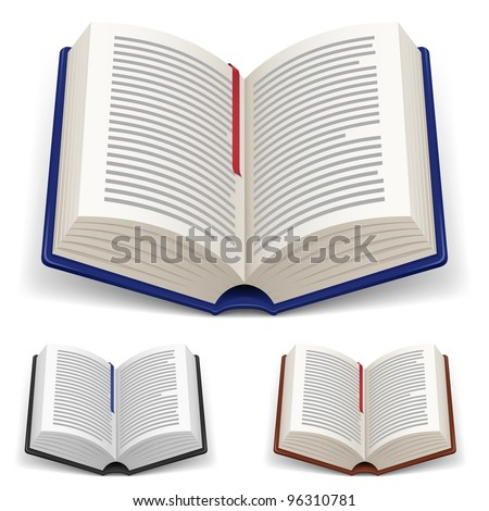 Open Books With Red and Blue Bookmark on White Background
