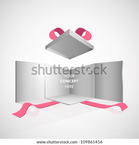 Open box illustration on isolated grey background. Vector design.