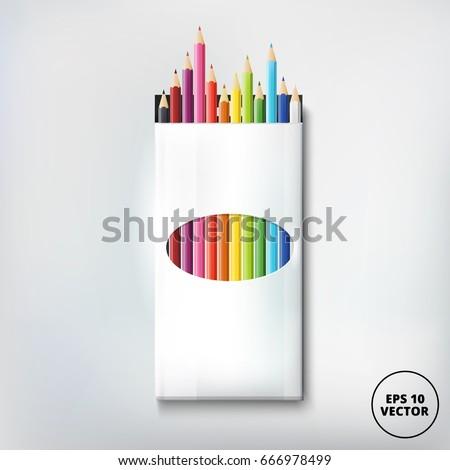 Open box of colored pencils. Vector illustration