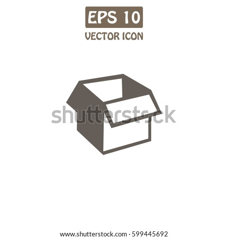 Open Box  Vector Icon.