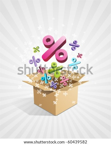 Open box with fly 3d colorful percent vector background
