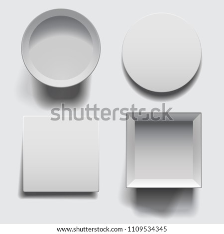 Open boxes with lids set isolated on white background. White round and square boxes with shadows template. #1109534345