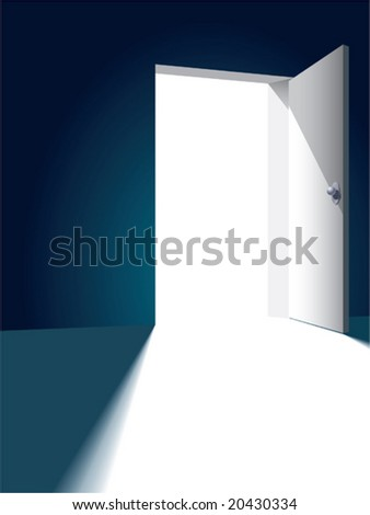 Open bright door opposite to dark wall
